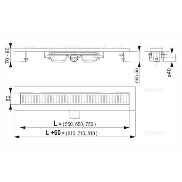 Κανάλι Ντουζιέρας Φ40 Inox APZ101 Low Alcaplast