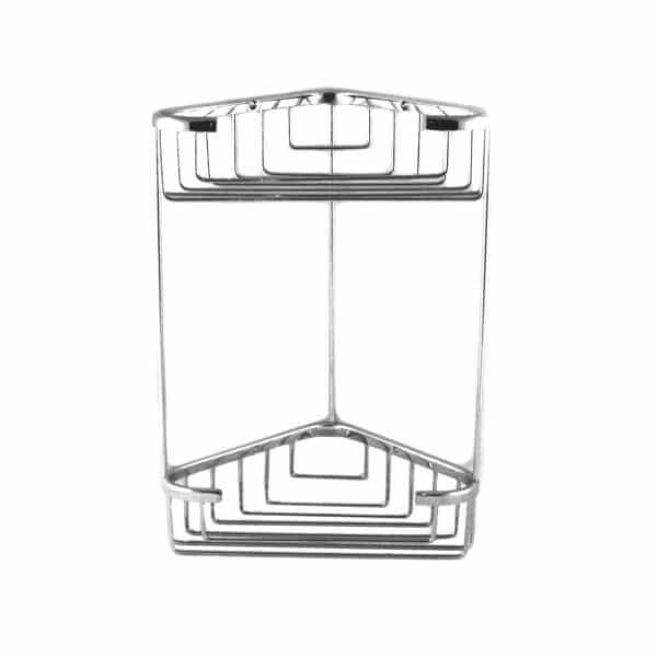 Ράφι Μπάνιου Διπλό Γωνιακό 16x16x28 Ορείχαλκος Χρωμέ Tema